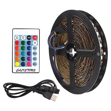 Calistouk Kit De Ruban Led Bande 60 Leds Eclairage Usb Télécommande Light Strip Flexible Multicolore Décoration Chambre Noir 1m