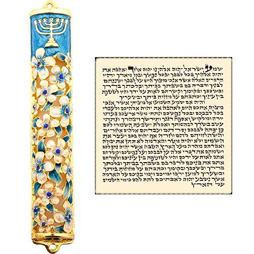 Talisman4U Blue Enamel MEZUZAH CASE with Scroll Hebrew Parchment Menorah Judaica Door Mezuza Made In Israel 9 cm