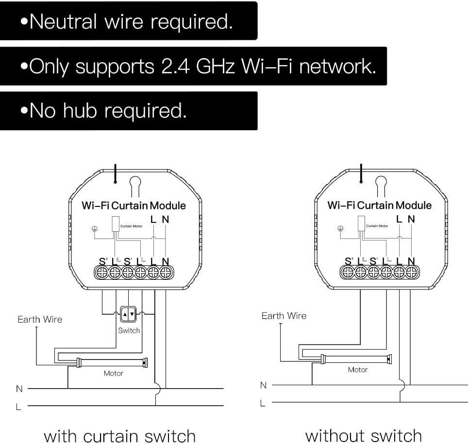 Monland WiFi M/óDulo de Interruptor de Cortina Inteligente Persianas Enrollables Motor de Obturador Smart Life Tuya Trabaja con Alexa Home