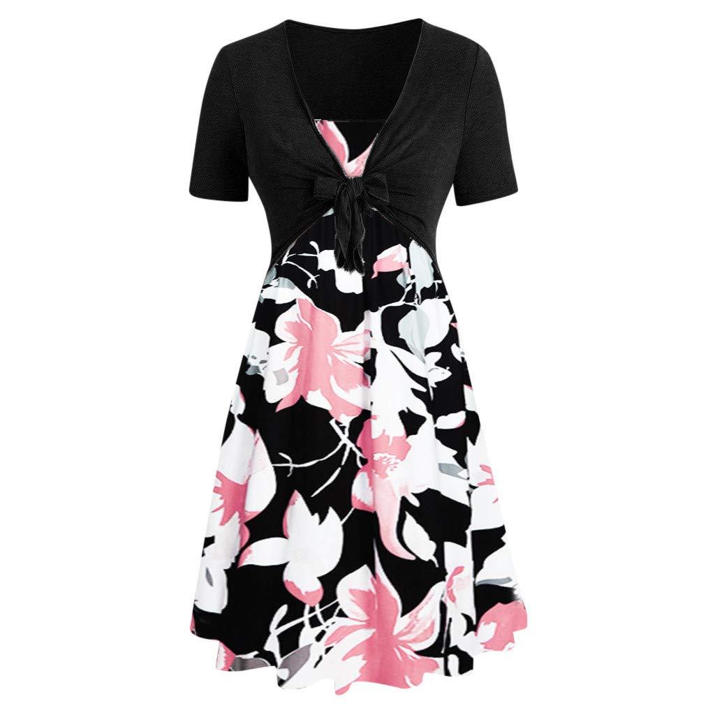 Hotkey Womens Dresses Fashion Women Short Sleeve Bow Knot Bandage Top Sunflower Print Mini Dress Suits Casual