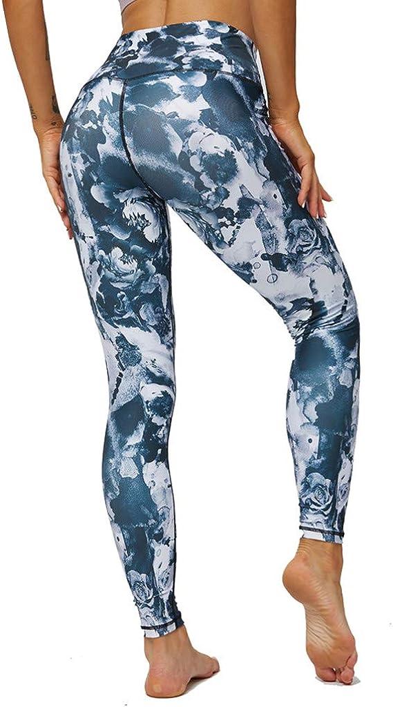 MEIbax Leggings Deportes Pantalones para Mujeres de Estampado de Las Entrenamiento Gimnasio Correr de Fitness Gym Yoga Pantalon Deportivo Mallas Running Workout Pantalones el/ásticos