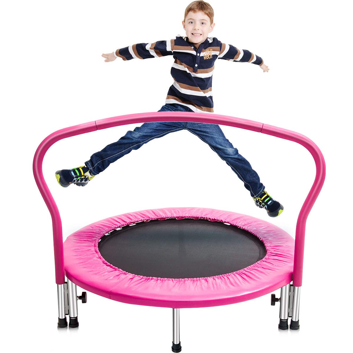 Merax 36'' Kid's Mini Exercise Trampoline Portable Trampoline Toddler Trampoline with Handrail (Pink.Pad)