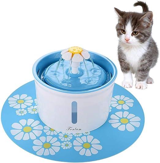 FONLAM Fuente para Gato Perrito Perro Cachorro Bebedero Automático de Silencio con 2 Filtros + Alfombrilla Impermeable Dispensador de Agua Mascota 1,6L Higiénico (Azul): Amazon.es: Productos para mascotas