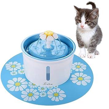 FONLAM Fuente para Gato Perrito Perro Cachorro Bebedero Automático de Silencio con Filtro + Alfombrilla Impermeable Dispensador de Agua Mascota 1,6L ...