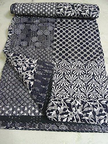 Sophia Art Indian Kantha Suzani Print Quilt Vintage Hand Block Printed Kantha Quilt, Patchwork Cotton Bedspread, Made (Multi) (Quilt Suzani)