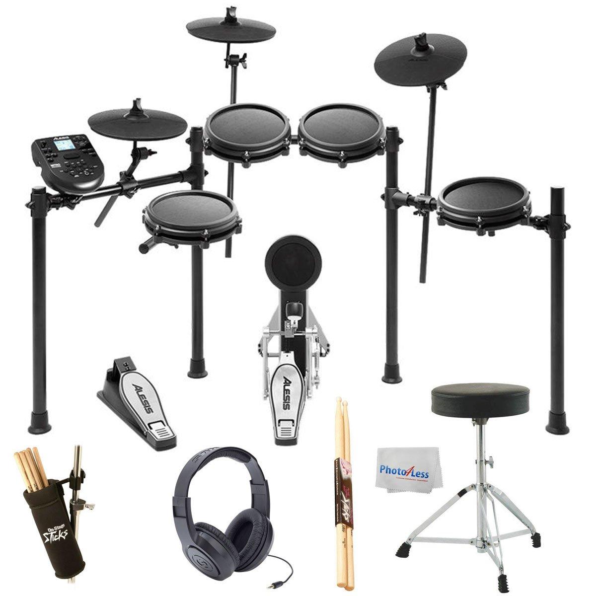 Alesis Nitro Mesh Electronic Drum Kit + Samson SR350 Studio Headphones + On Stage Drum Stick Holder DA100 + Braced Drum Throne + Maple Wood 5B Drumsticks - Photo4Less Clean Cloth- Top Accessory Bundle by Alesis