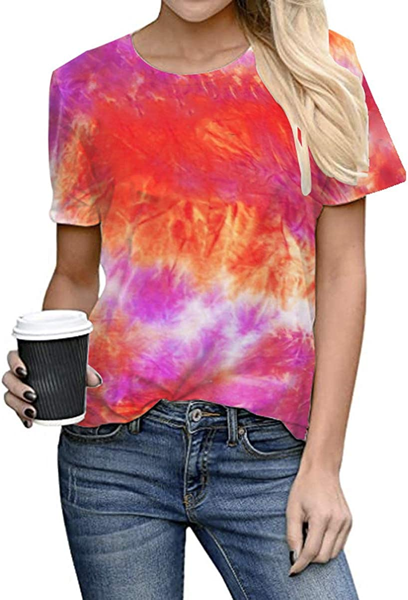 DUTISON Women Tie Dye Short Sleeve T-Shirts Gradient Round Neck Summer Loose Basic Tops Tee