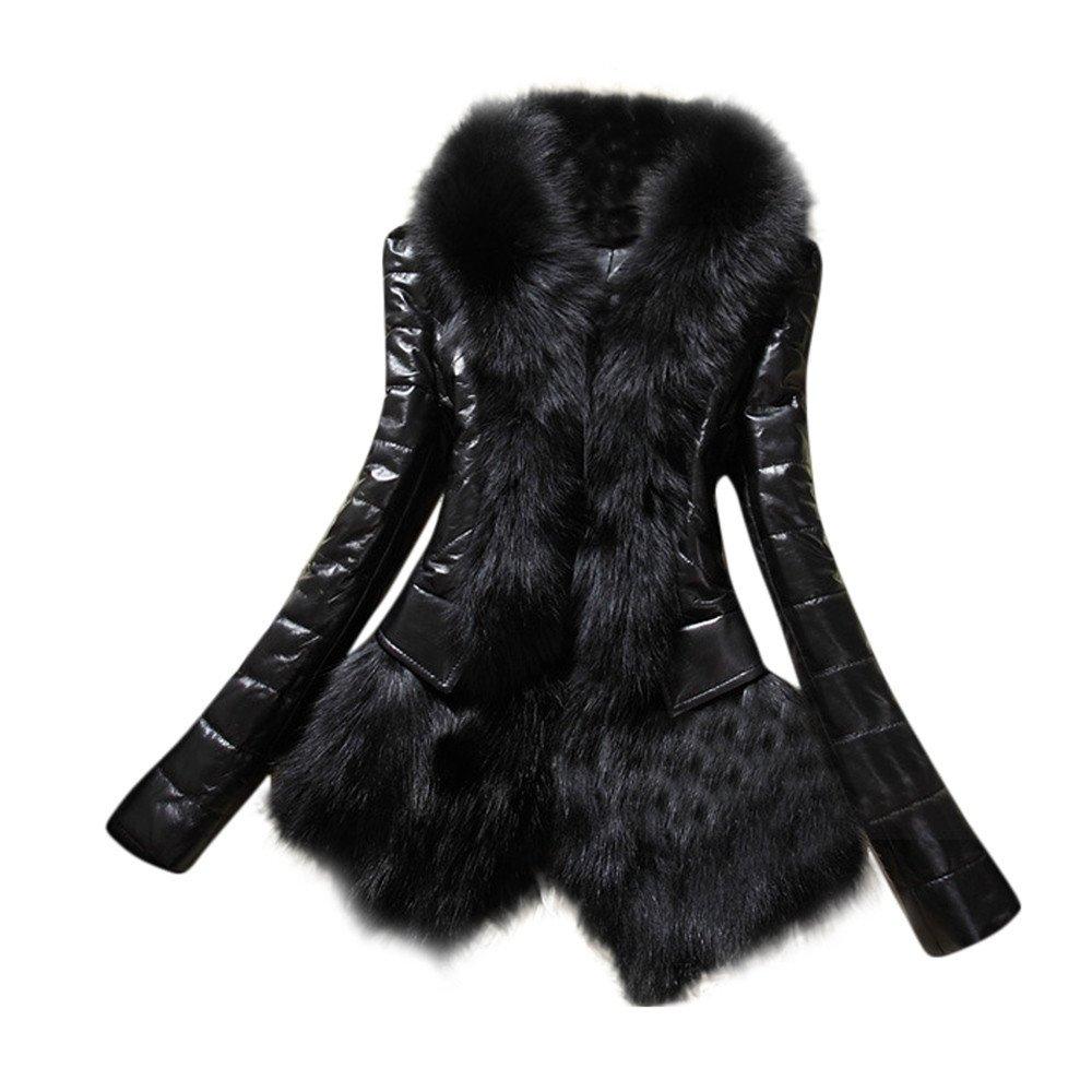 KEERADS Nouveau Designer De Mode Femmes Chaud Col en Fourrure en Peluche Manteau en Cuir Épais Veste Survêtement Parka