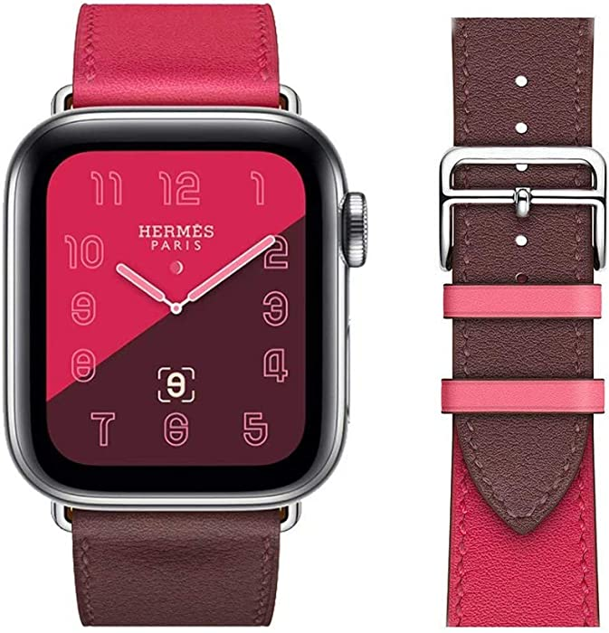 Chimei Replacement for Apple Watch Band Leather 44mm 40mm 42mm 38mm Single Tour Series 4/3/2/1 Fit for Iwatch Strap Watchband