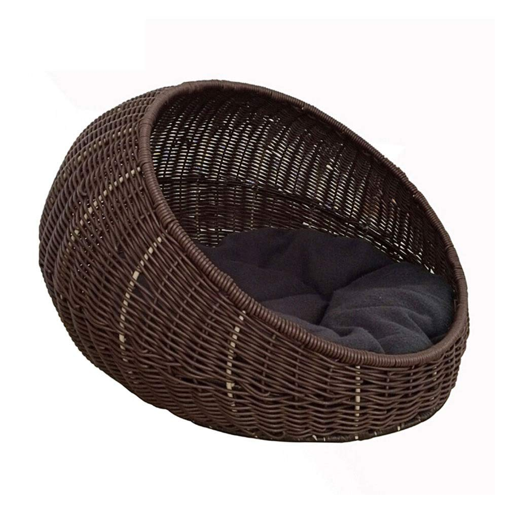 WEAO Washable Semi-Closed Rattan Cat Nest Kennel Villa Cat House Cat Bed House Pet Bed Four Seasons Comfortable Cat Climbing Frame Brown