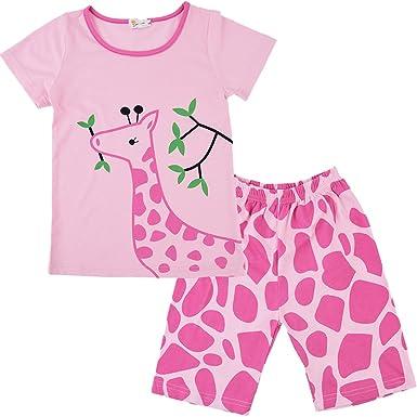 9b1aa0887 Little Girls 100% Cotton 2 Piece Sleepwear Short Sleeves Pajama Sets ...
