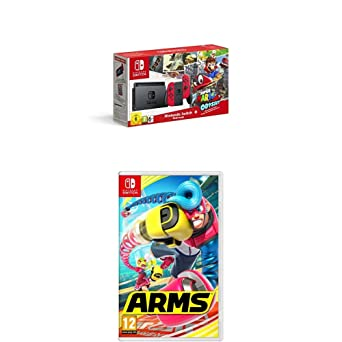 Nintendo Switch - Consola + Super Mario Odyssey Bundle (Código Descarga) + Arms