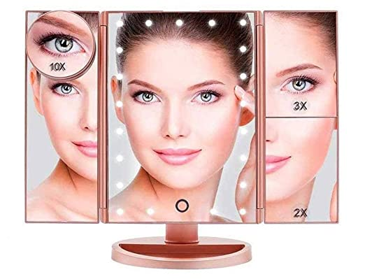 Boston Tech BE-104 - Threefold Makeup Mirror with Adjustable Light. Countertop Cosmetic Mirror with Foldable body. 24 Led Lights, Rose Gold Color. 4 magnifying Mirrors (1x,2X, 3X and 10X)