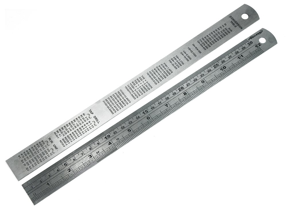 Lot de 1 x 12 pouces Neilson / 300mm en acier rè gle avec table de conversion sur le dos Direct Material
