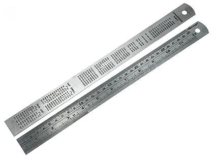 12 Regla de acero de 300 mm pulgadas con la Tabla de ...