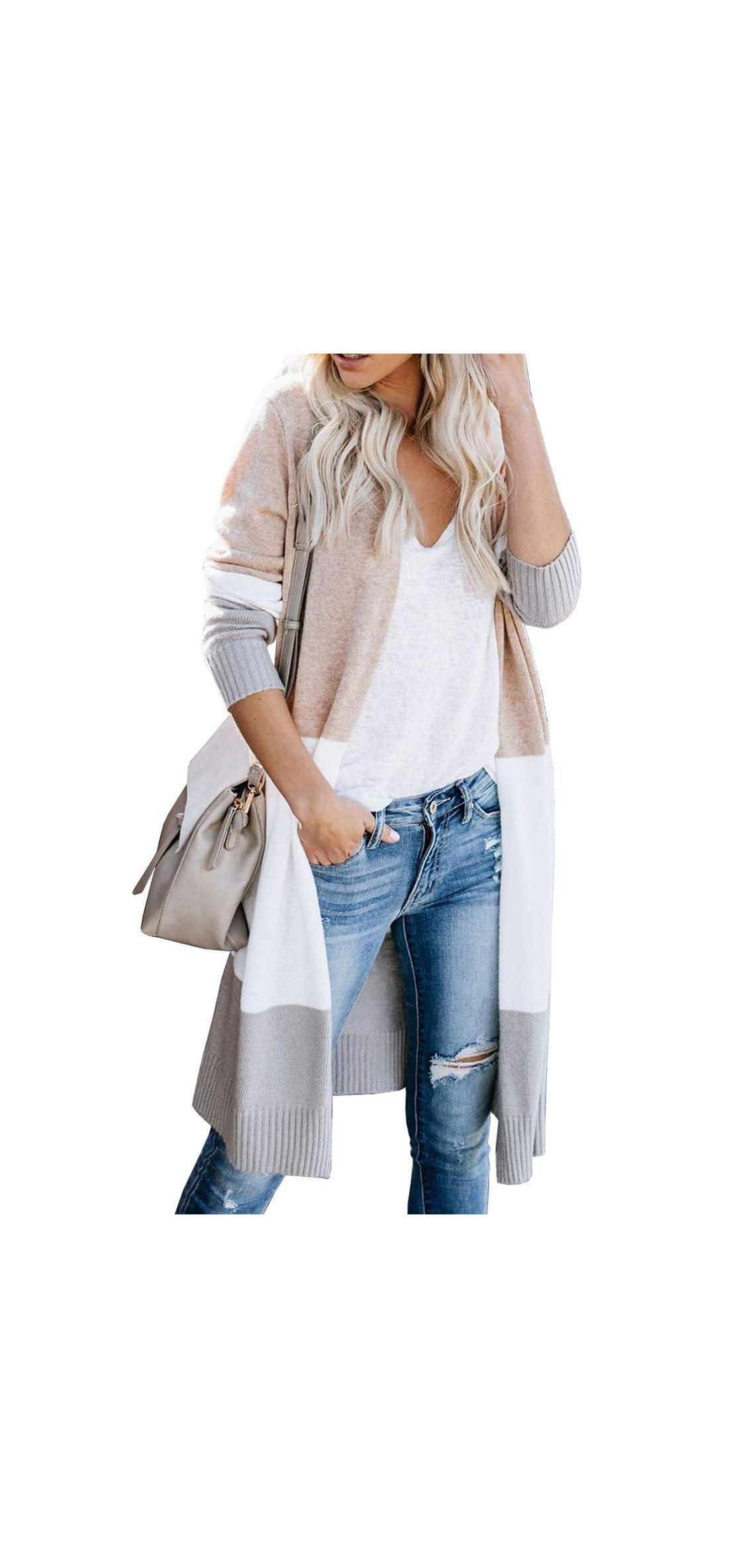 Womens Stripe Colorblock Knit Sweater Cardigan Long Lightweight