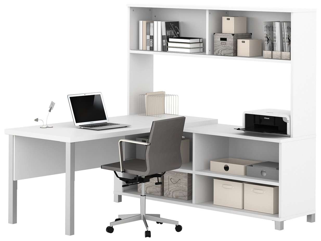 BESTAR Pro-Linea L-Desk with Hutch - White