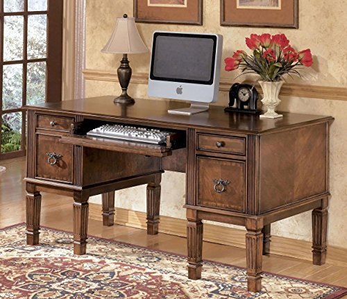 Distressed Molding (Hamlyn H527-26 60 Home Office Storage Leg Desk Including 4 Drawers with Distressed Detailing Decorative Hardware and Molding Detail in Medium Brown)