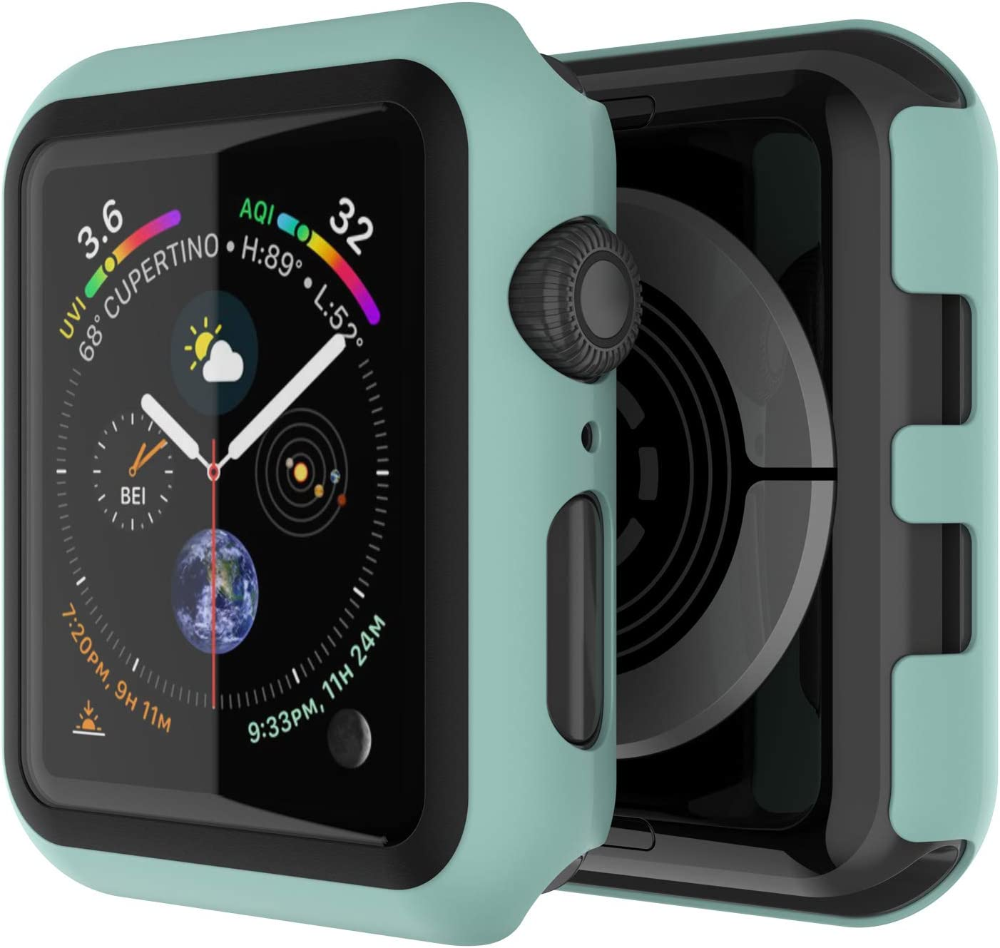 Punkcase for Apple Watch 42mm Bumper Case W/Build in Screen Protector   9H Hardened Tempered Glass iWatch 3 Cover   Full Body Protection   Ultra Slim Design for Apple iWatch Series 3/2/1 (Green)