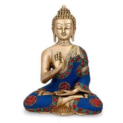 170f3bb848 Buy Collectible India Brass Abhaya Buddha Idol (20 cm x 13 cm x 28 ...