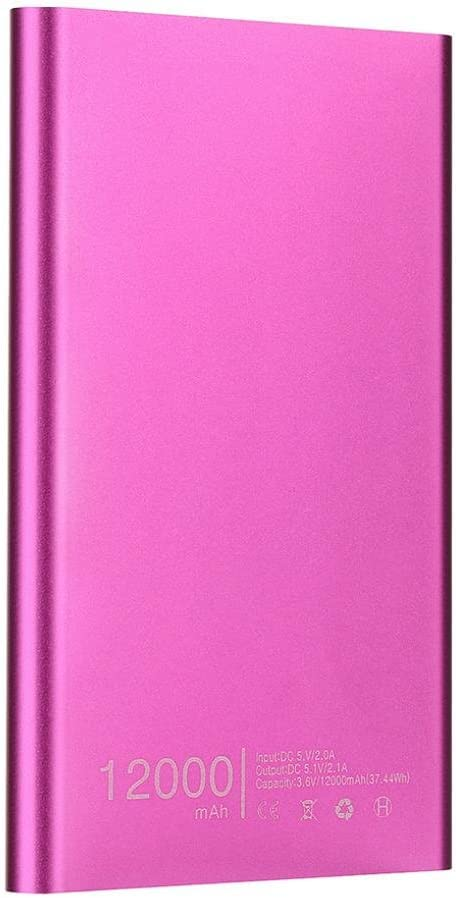 Gusspower Batería externa portátil ultrafina, 12000 mAh, USB, ultra alta capacidad, para Iphone, Ipad, Samsung Galaxy, etc., Rosa: Amazon.es: Instrumentos musicales