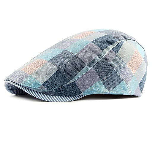Image Unavailable. Image not available for. Color  Funme Men s Unisex  Newsboy Hat Cotton Flat Plaid Ivy Irish Cabbie Caps edcafbef4244