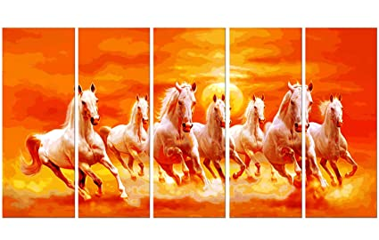 pintura seven running horses vastu painting for home and office