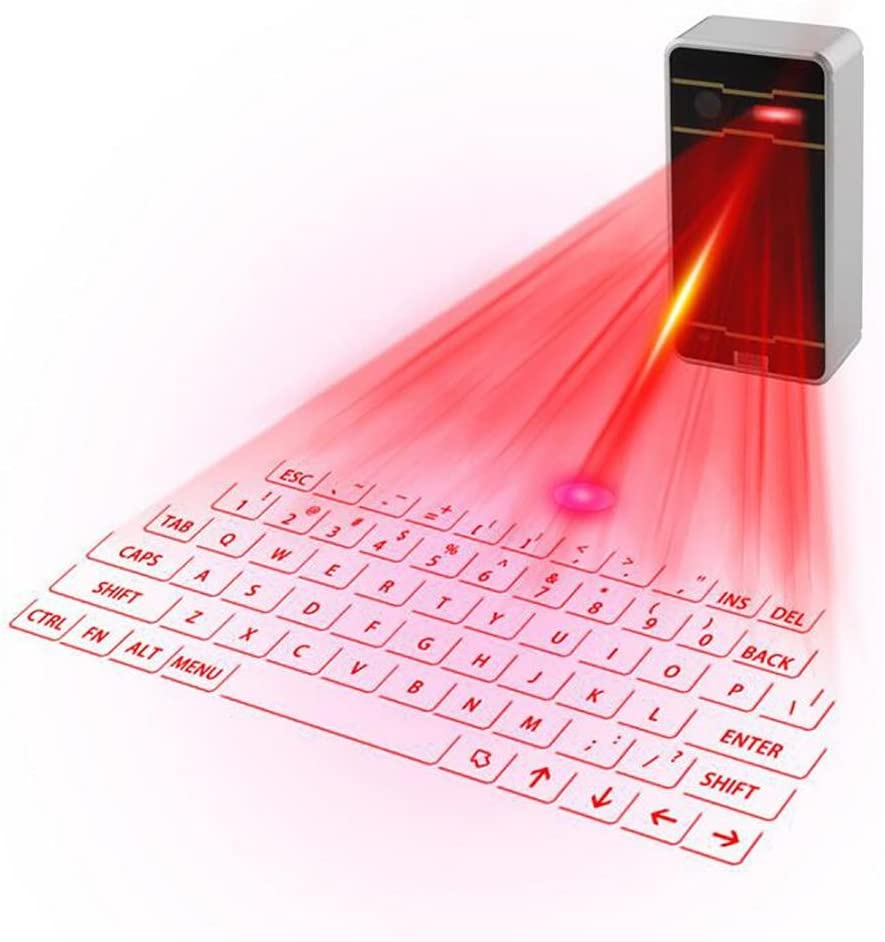 Silver White SHANGXIAN Laser Projection Keyboard Bluetooth Virtual Keyboard for Smartphone PC Tablet Laptop English Keyboard