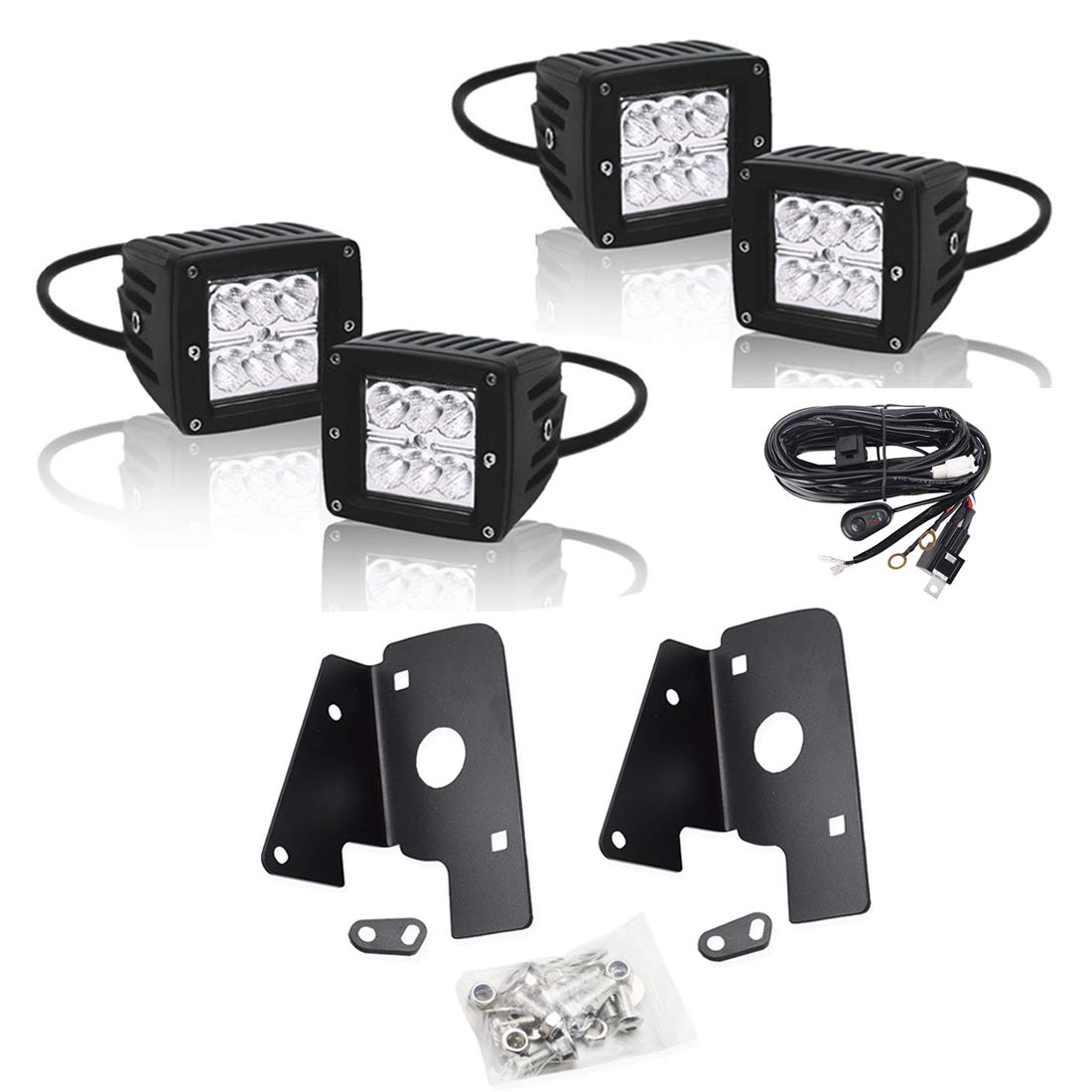 Lower Hidden Bumper Fog Lamp Location Upgrade Mount Brackets Kit And 2007 Chevrolet Silverado Wiring Harness 4pcs 3x3 Inch High Power Led Driving Lights W For 2014 Chevy