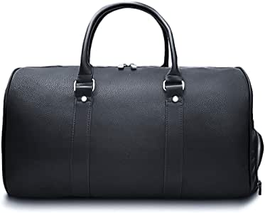 Mens Leather Travel Bag with Shoes Compartment, Leather PU Weekend Bag Duffle Overnight Carry on Sports Luggage