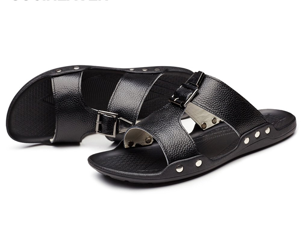 Guciheaven Men's Cowhide Leather Skid Flats Slides Sandals Black 7.5M US by GUCIHEAVEN (Image #3)