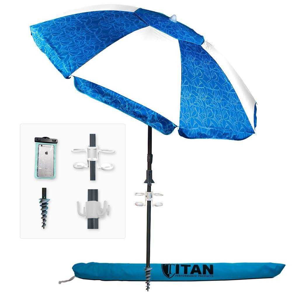 Titan 7 Foot Beach Umbrella With Sand Anchor and Tilt and Telescoping Pole   Bundle Includes 2 Waterproof iPhone Cases, Portable Cup Holder, 4 Prong Hanging Hook, Corkscrew Anchor, and Carrying Bag   B0777RDGDF