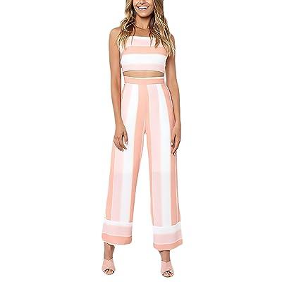 2 Piezas Conjunto Mujer Verano Elegantes Crop Top Sin Tamaños Cómodos Mangas Bandeau Cintura Alta Pantalones Anchos Moda Casual Rayas Trajes: Ropa y accesorios