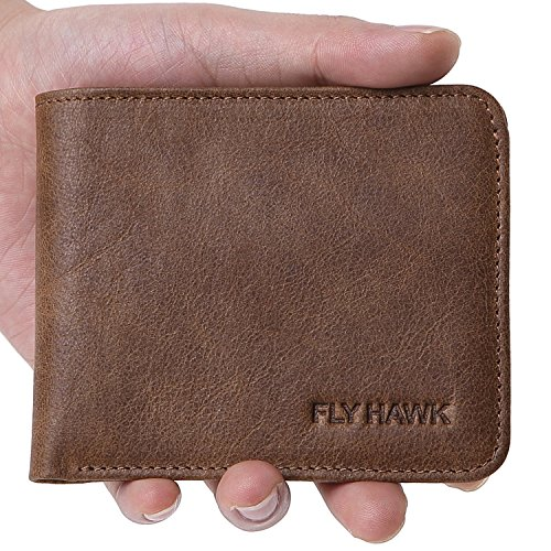 FlyHawk RFID Blocking Genuine Leather Wallets Mens Biford Mini&Slim Size Wallet (Mini Wallet-RFID Blocking, Khaki-Classic)