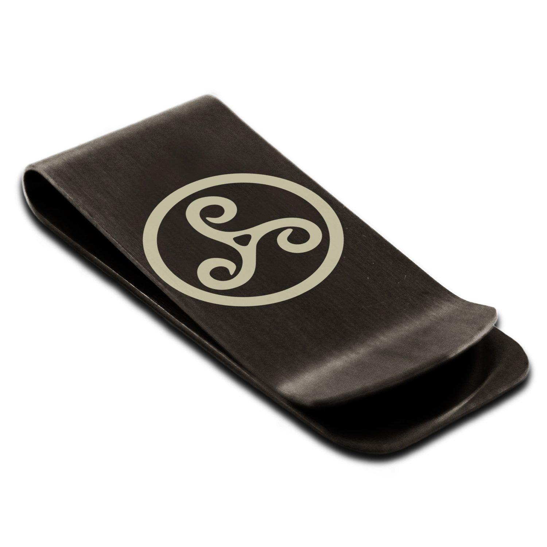 Stainless Steel Celtic Triskele Triskelion Symbol Engraved Money Clip Credit Card Holder