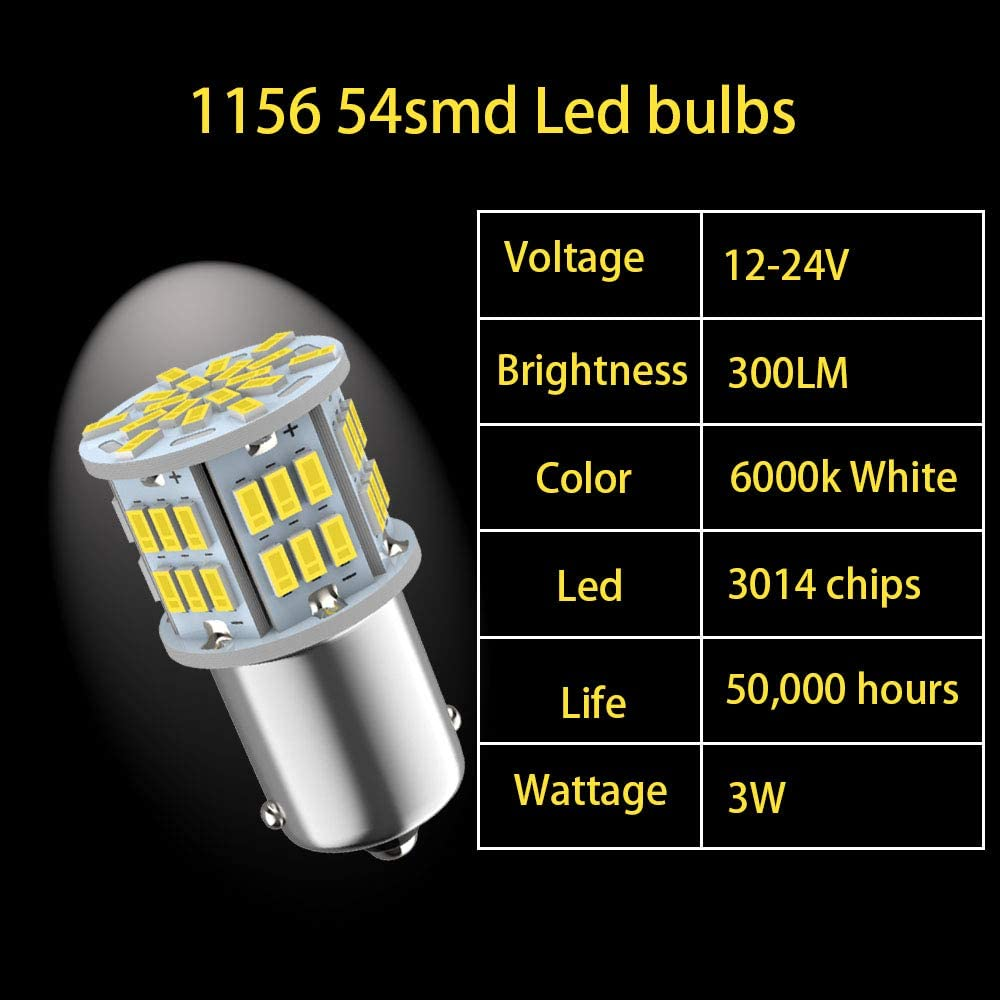 Melphan-Auto 24V 1156 Led car bulbs RV Camper/Interior Lights 1156 Led 6pcs Upgrade 54-SMD 3014 Chips White 1141 1003 BA15S LED Car Bulbs for Car Backup Reverse Lights Tail Lights Brake Lights