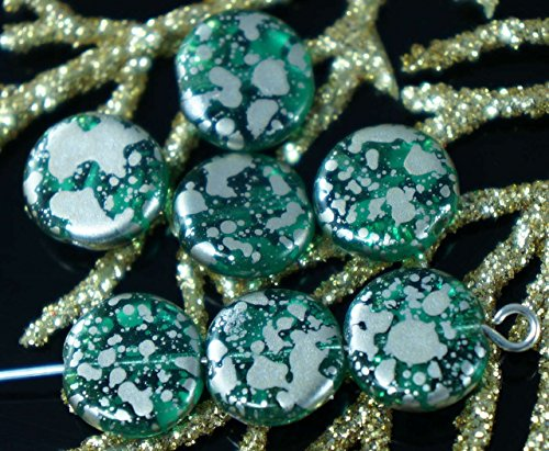 Clear Emerald Green Silver Spotted Czech Glass Flat Round Coin Beads 10mm 16pcs