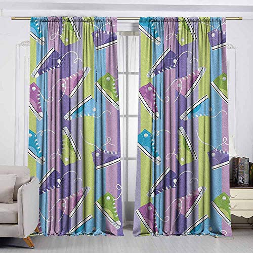 VIVIDX Curtain Tailored,Retro,Different Colored Sneakers on Vertically Striped Backdrop Youth Footwear Fashion,for Patio/Front Porch,W72x45L Inches Multicolor