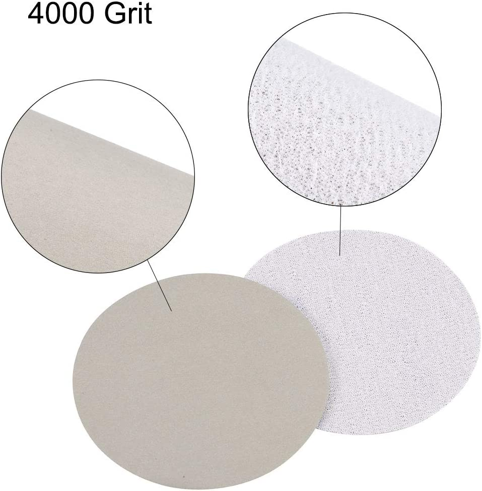 uxcell 3 Inch Wet Dry Sanding Discs 4000 Grit Hook and Loop Sandpaper Electrostatic Sand Planting Silicon Carbide 30pcs