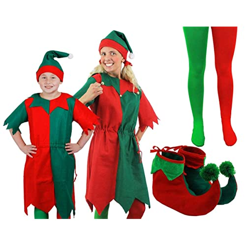 elf christmas fancy dress costume green red long dress hat tights elf shoes