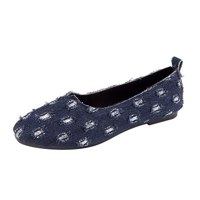 Zapatos de Mujer, ASHOP Casual Planos Loafers Mezclilla Ponerse Superficial Mocasines de Puntera otoño Invierno Botas de para Mujer: Amazon.es: Ropa y ...