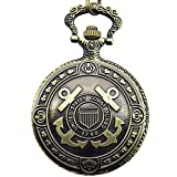 Engraved United States Coast Guard 1790 Mark Men's Quartz Pocket Watch Waist Chain with Gift Box