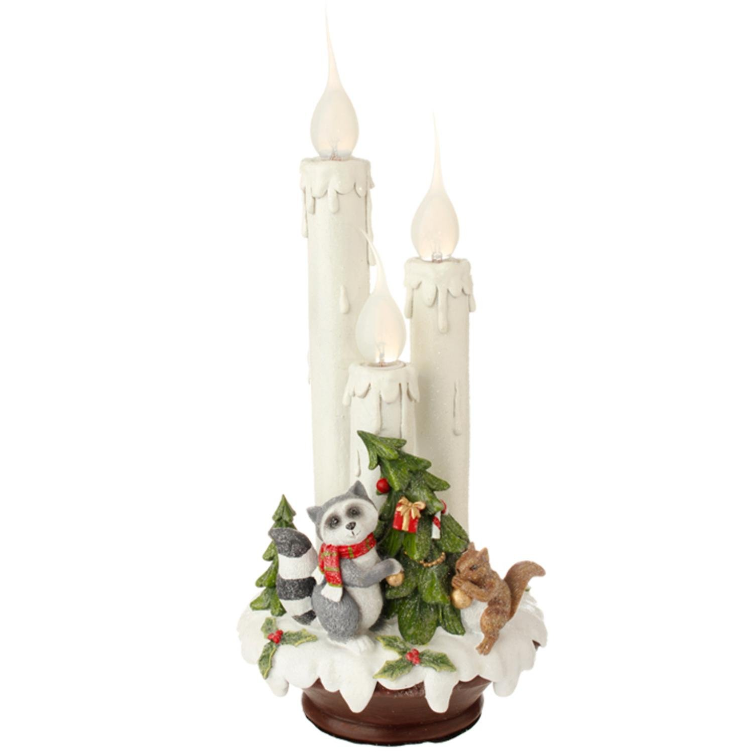 Raz 14'' Wilderness Animals Flame Tipped Three Candle Lamp Christmas Table Top Decoration