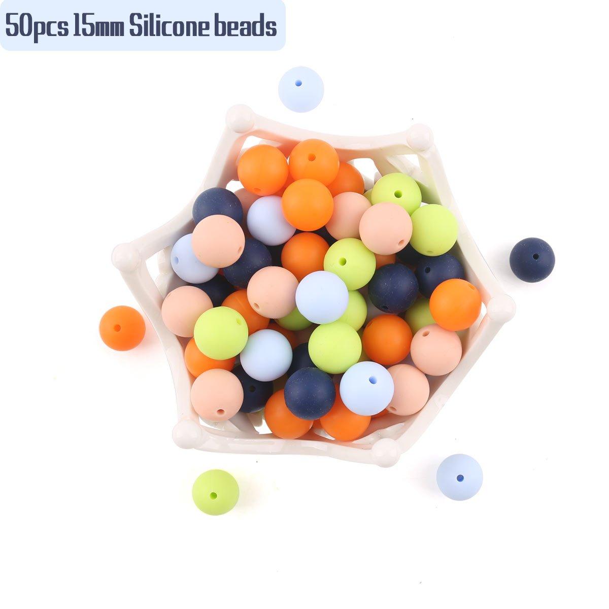 baby tete Perles de Bébé en Silicone Colliers de Dentition Perle en vrac pour les Jouets de Dentition Sensoriels 15mm/50pcs