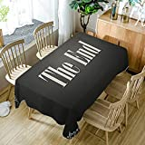 Moslion Movie Theater The End Quote Charcoal Grey Cream Tablecloth Modern Decor Polyester Fabric Table Cloths Dining Room Kitchen Outdoor Rectangular Table Cover 60x104 Inch