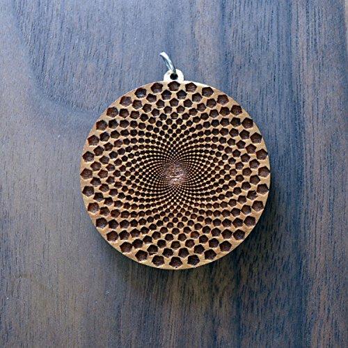 (Sunflower Fractal Pendant - Natural Hardwood - Laser Cut Engraved Sacred Geometry - LT10052)