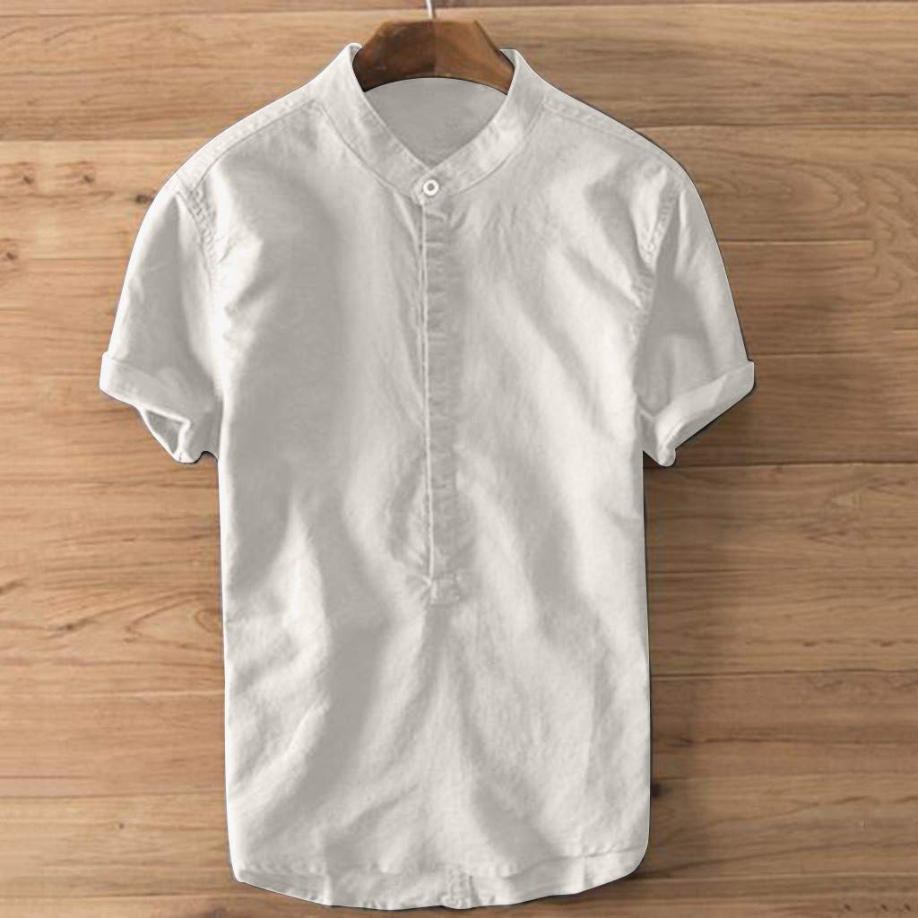 Moonuy✿Mens T-Shirt,Coat,Jacket,Upper Outer Garment,Tops,Blouse,Shirt,Mens T-Shirt Summer Mens Cool and Thin Breathable Collar Hanging Dyed Gradient Cotton Shirt