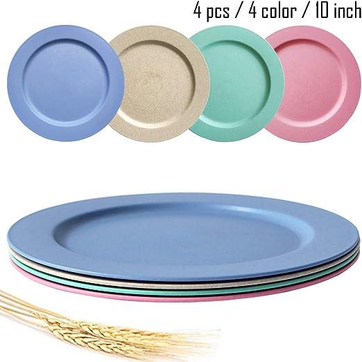 Platos de paja de trigo aptos para lavavajillas y microondas de 10 ...