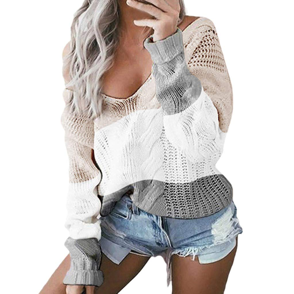 〓COOlCCI〓Women Long Sleeve V Neck Pullovers Stripe Color Block Patchwork Sweaters Pullover Sweatshirt Tops Blouse Coats Khaki by COOlCCI_Womens Clothing