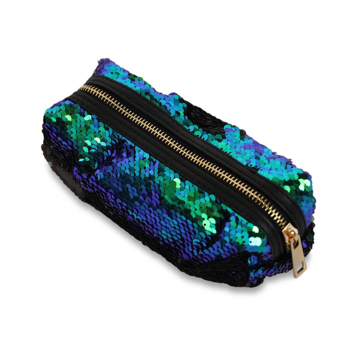Funky Monkey Fashion Makeup Cosmetic Bag | Students Pencil Case Glitter | Reversible Mermaid Sequin Kids Pouch Women Fashion Handbag - Muti - Color